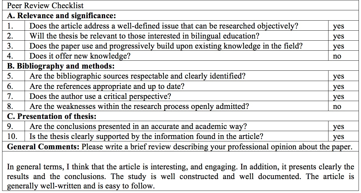 peer editing checklist college essay